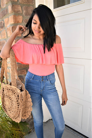 Off The Shoulder Body Suit - Coral - Sweetly Striped