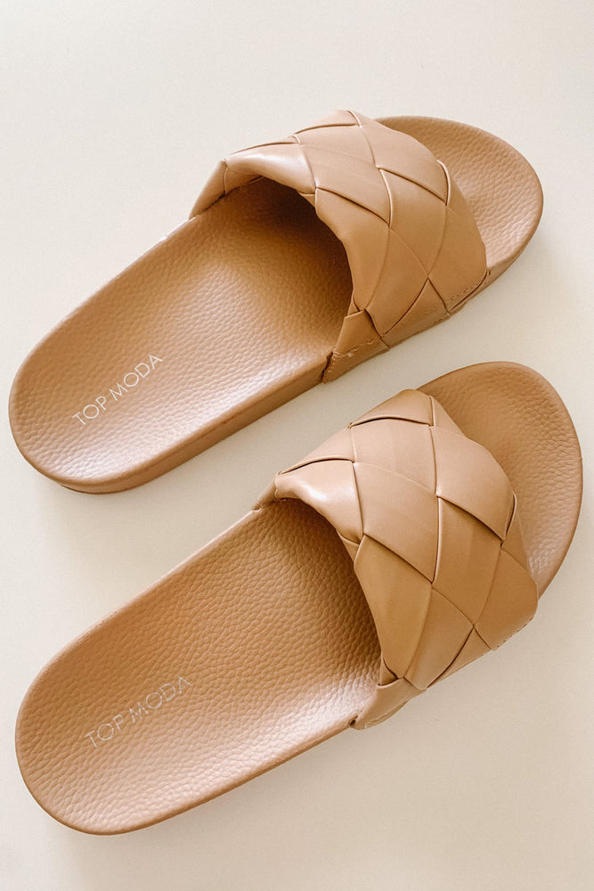 Tan Braided Slide Sandal