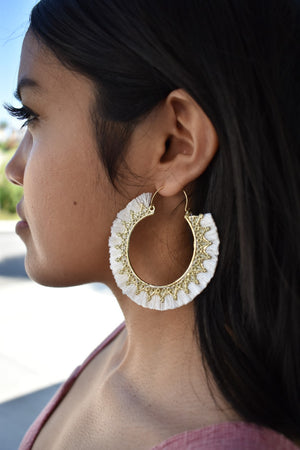 Ivory Fringe Hoops - Sweetly Striped