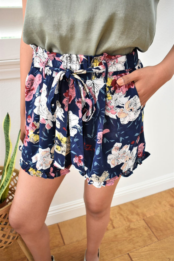 Floral Tie Front Shorts - Sweetly Striped