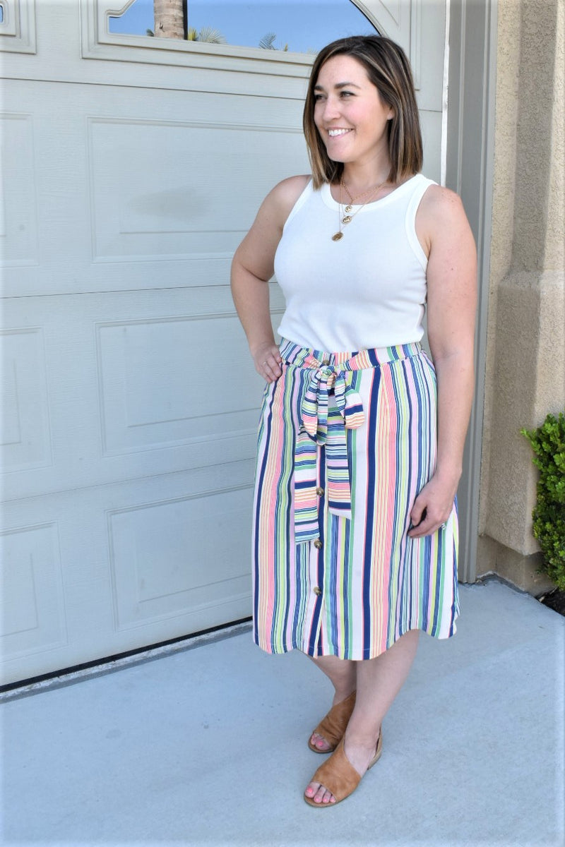 Key West Button Up Skirt - Sweetly Striped