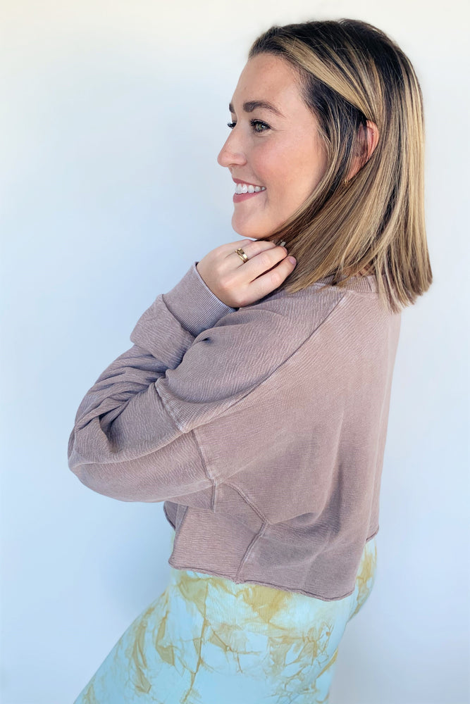 Cropped Earth Tone Pullover Top