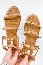 Tan Studded Strappy Sandals