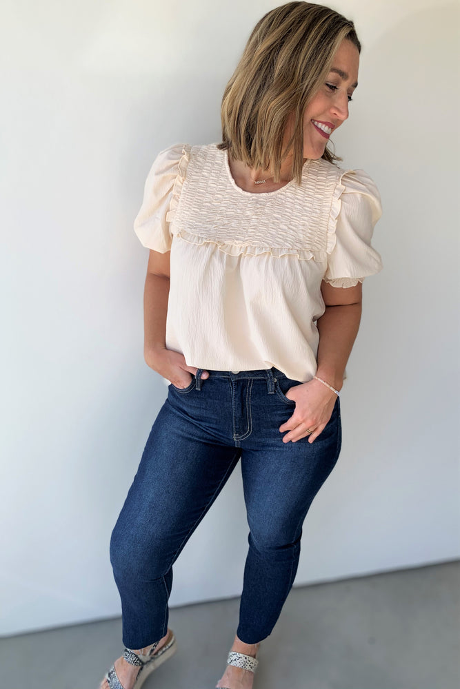 Smocked Front Ruffle Top