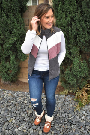 Corduroy Color Block Vest