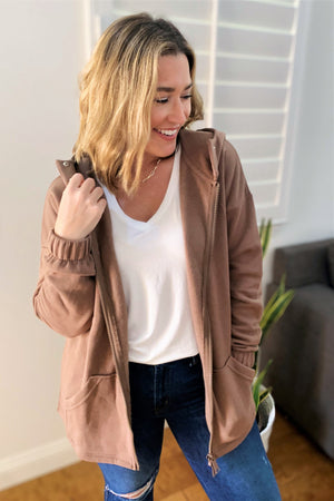 Zip Up Sweatshirt Jacket - Mocha