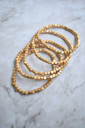 Gold Beaded Bracelet Set - Sweetly Striped