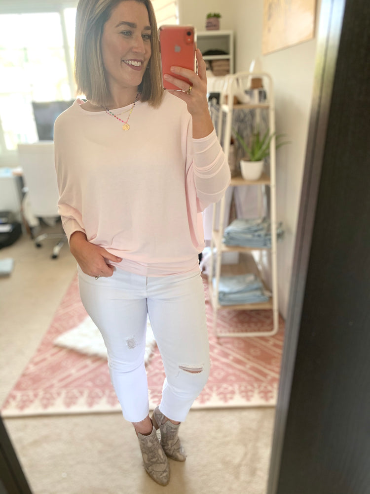 Soft Pink Dolman Sleeve Top