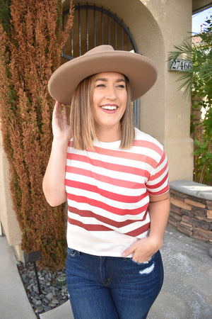 Pink Ombre Striped Top