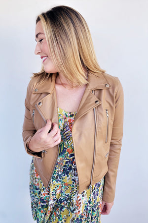 Vegan Leather Camel Moto Jacket