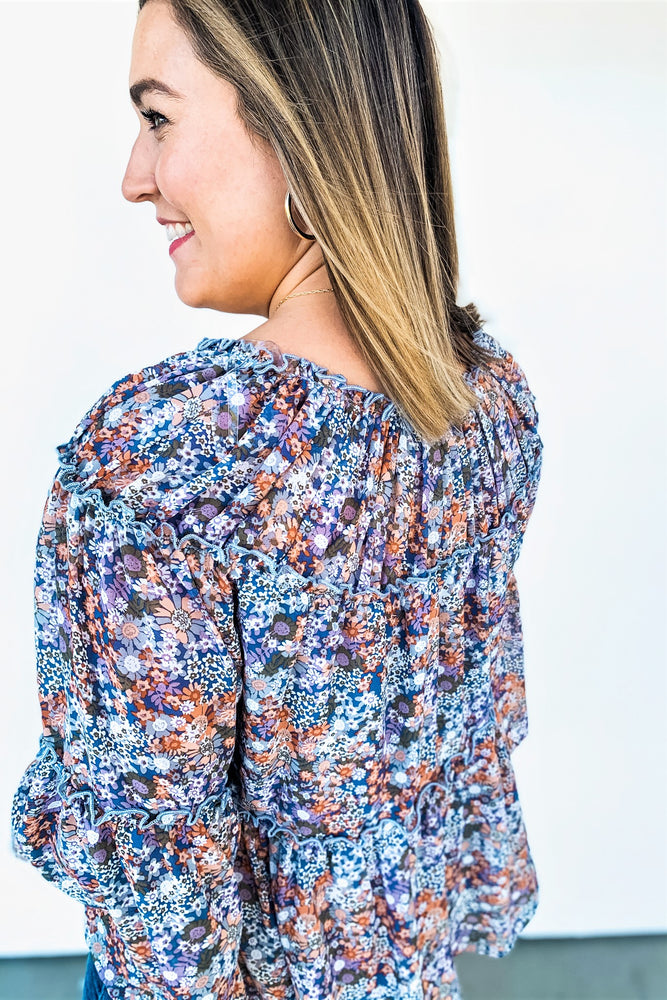 Blue Floral Tiered Top