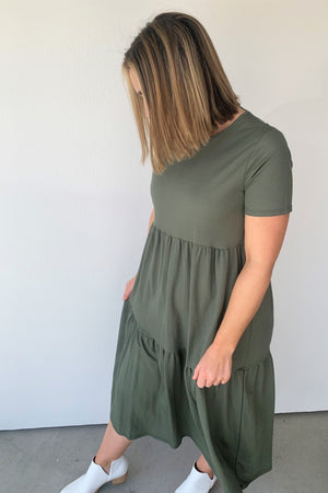 Olive Midi Tiered Dress - Sweetly Striped