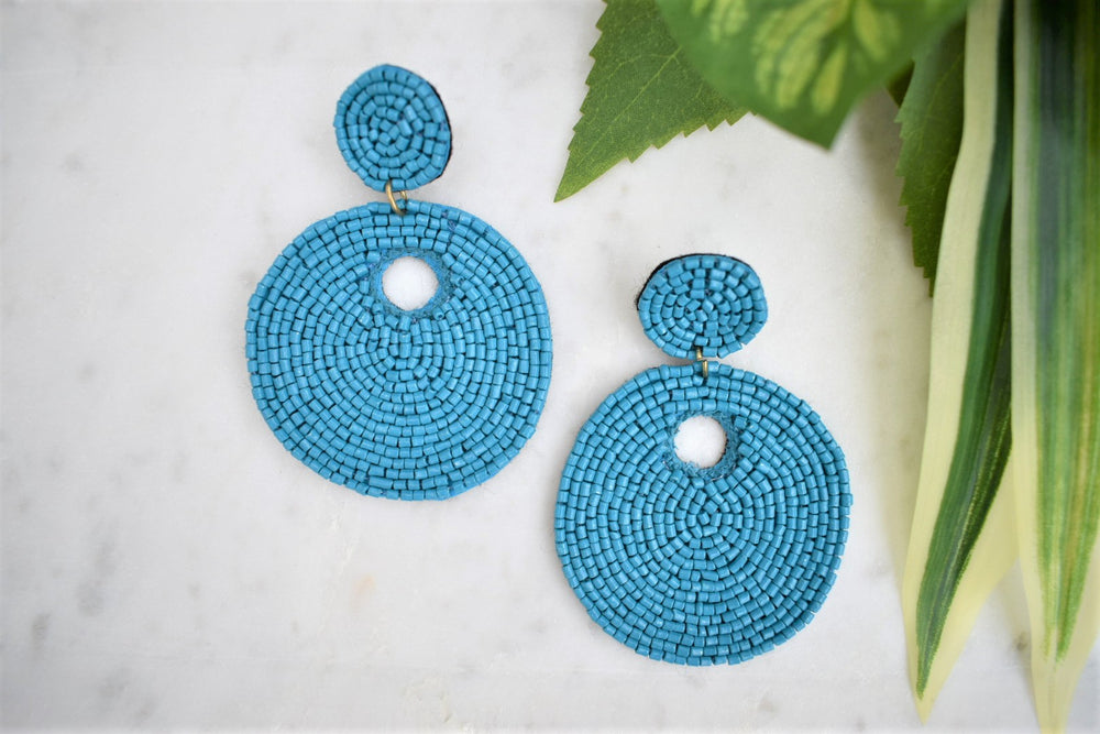 Round Beaded Earrings - Blue - Sweetly Striped