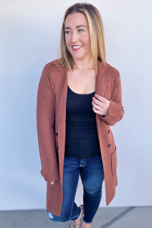 Clay Open Front Cardigan
