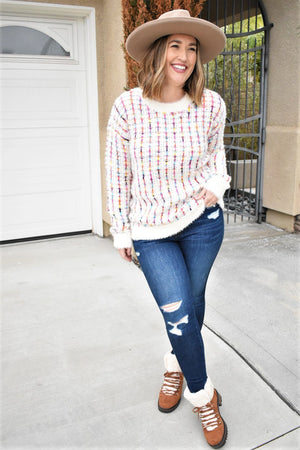 All Smiles Woven Pullover - Sweetly Striped