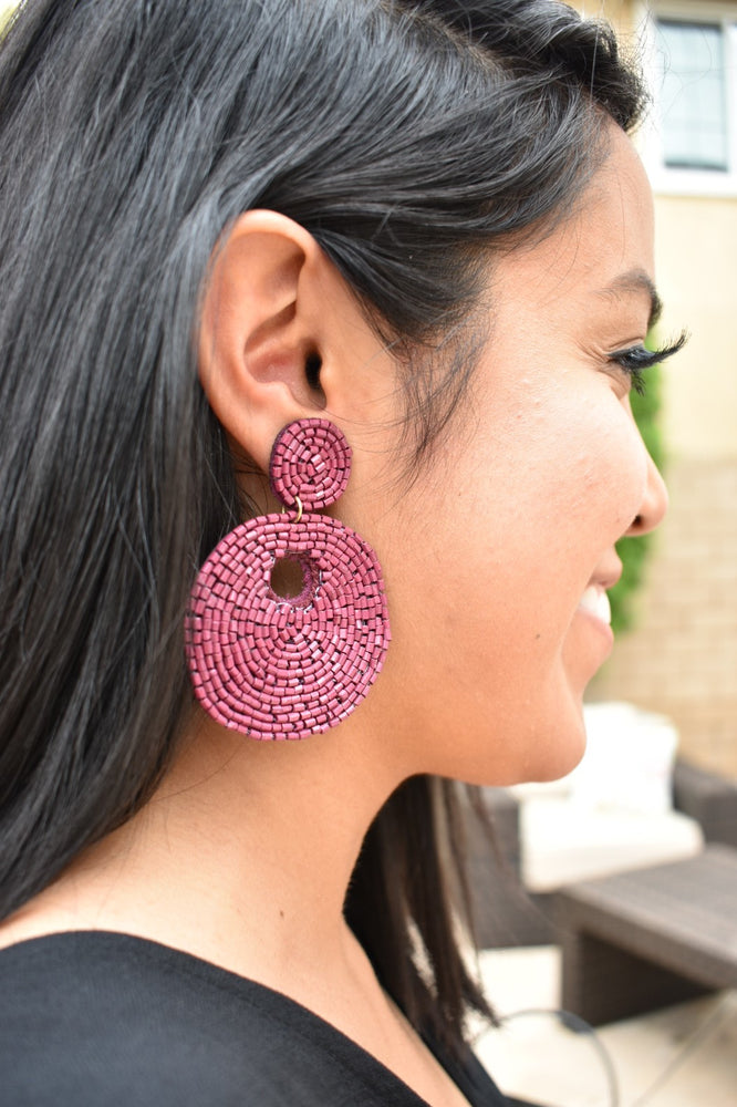 Round Beaded Earrings - Burgundy - Sweetly Striped