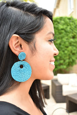 Round Beaded Earrings - Blue