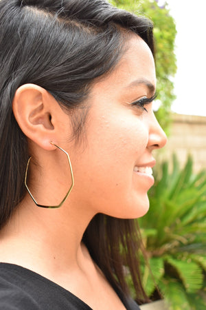 Gold Hexagon Earrings - Sweetly Striped
