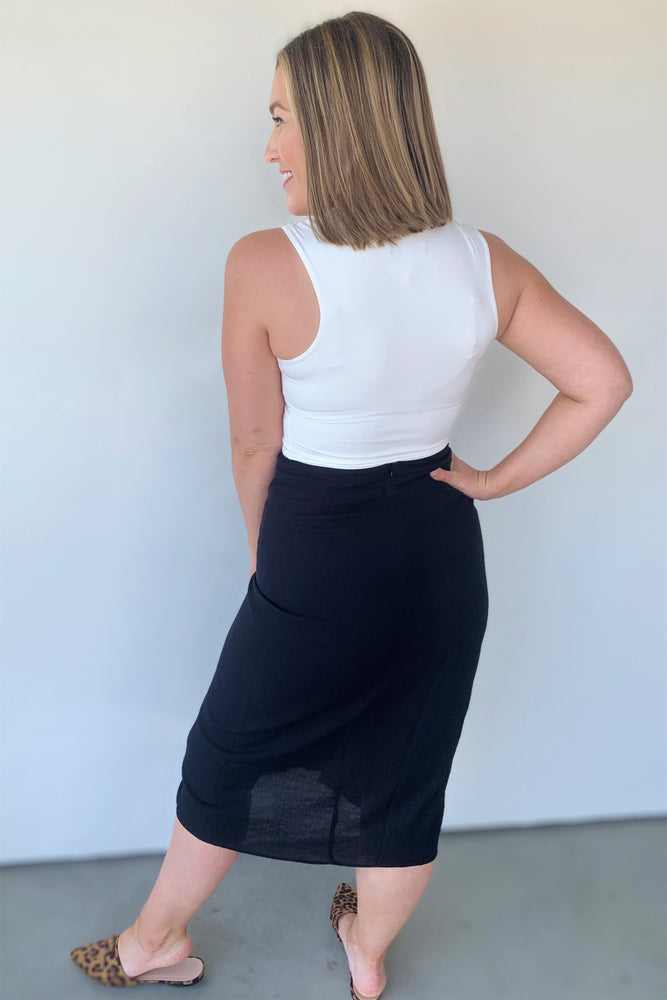 Black Side Ruched Midi Skirt - Sweetly Striped