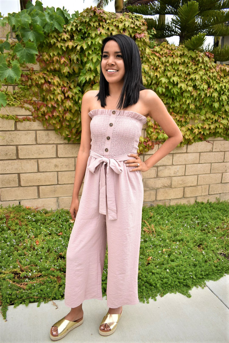 Blushing Beauty Smocked Jumpsuit - Sweetly Striped