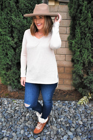 Keep Me Cozy Oatmeal Top - Sweetly Striped