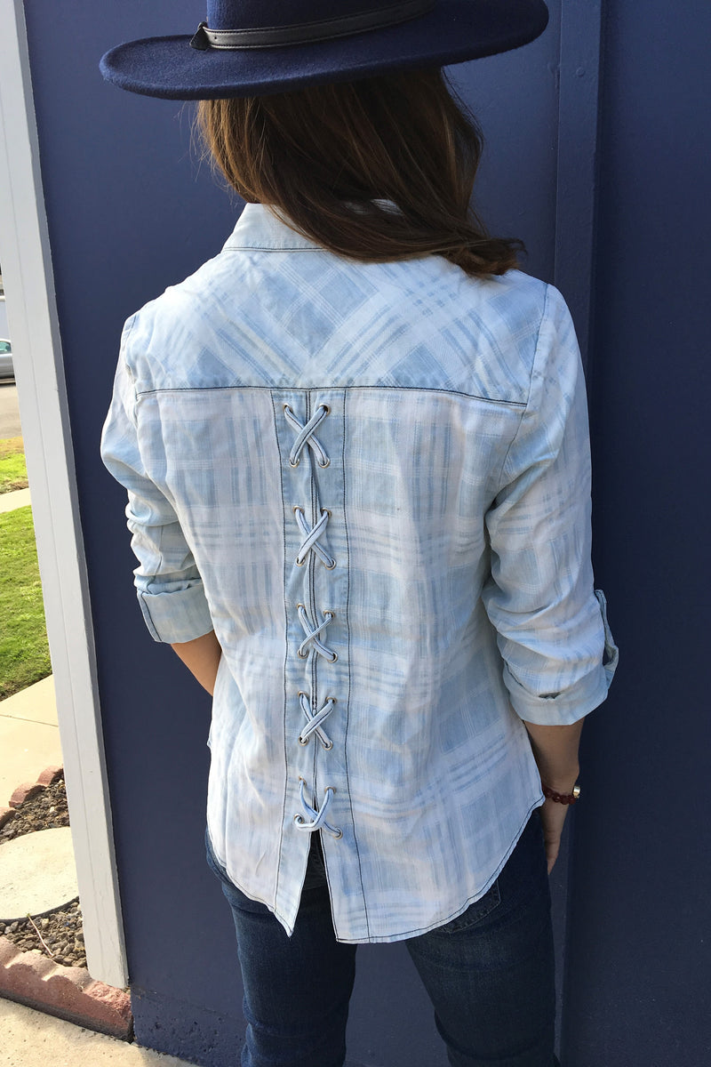 Lace up Denim Top - Sweetly Striped