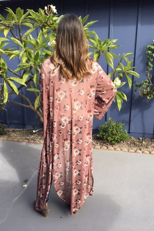 Sheer Floral Kimono - Sweetly Striped
