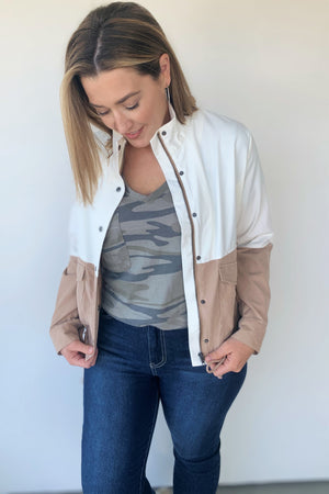 Color Block Ivory And Taupe Jacket - Sweetly Striped