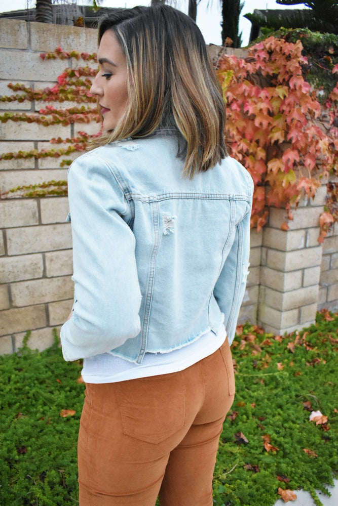 Ultimate Raw Hem Denim Jacket - Sweetly Striped