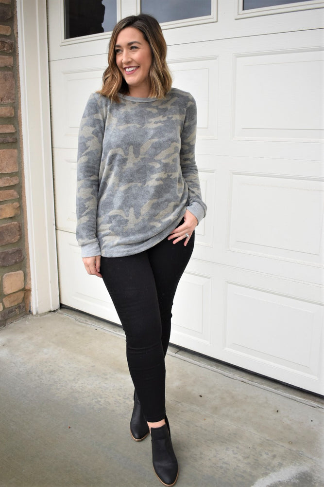 Brushed Camo Top - Sweetly Striped