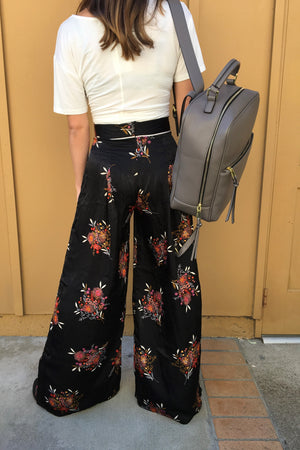 Wide Leg Floral Pants - Sweetly Striped