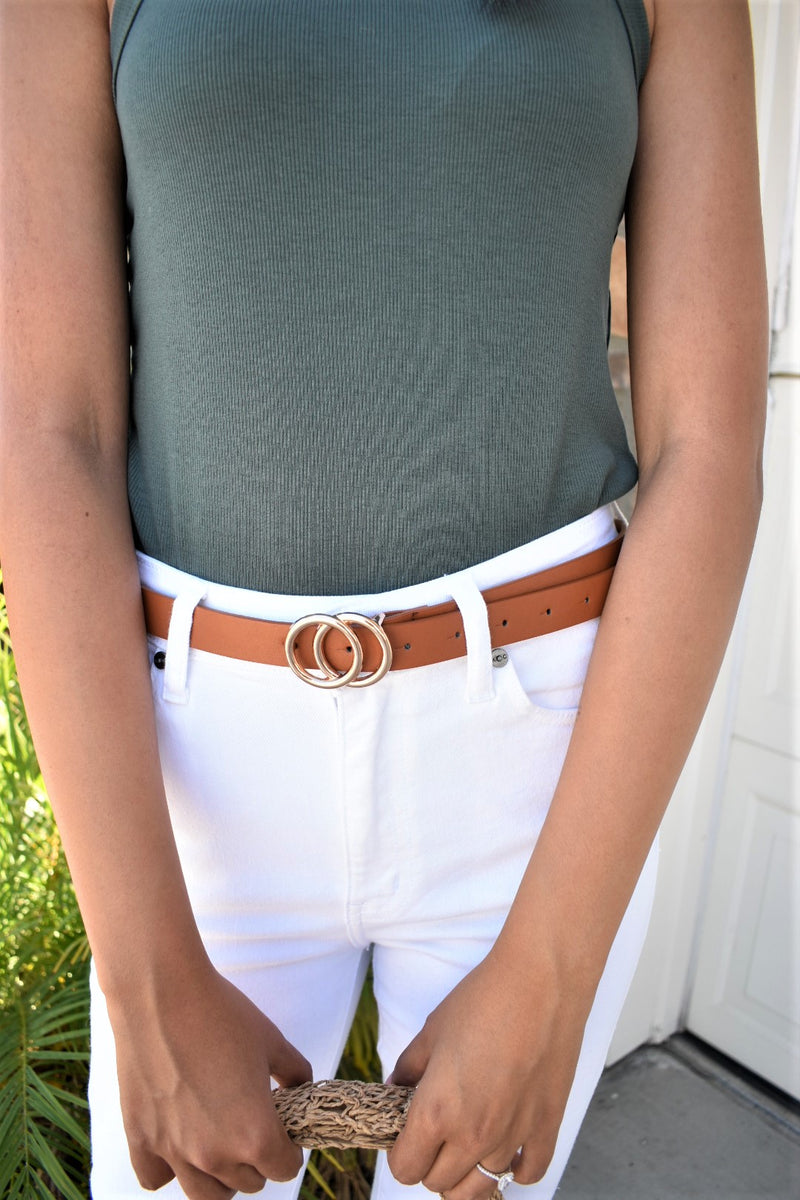 Double Circle Belt - Camel/Gold - Sweetly Striped