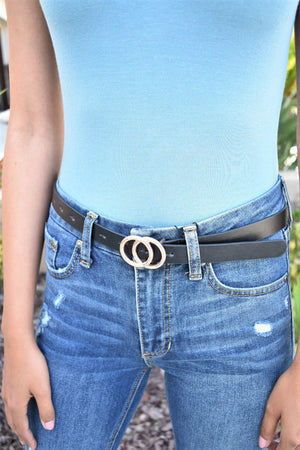 Double Circle Belt - Black/Gold - Sweetly Striped