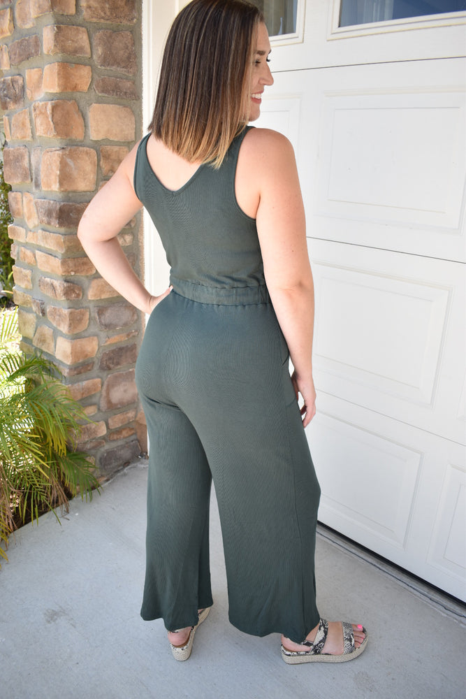 Hunter Green Wrap Front Jumpsuit - Sweetly Striped