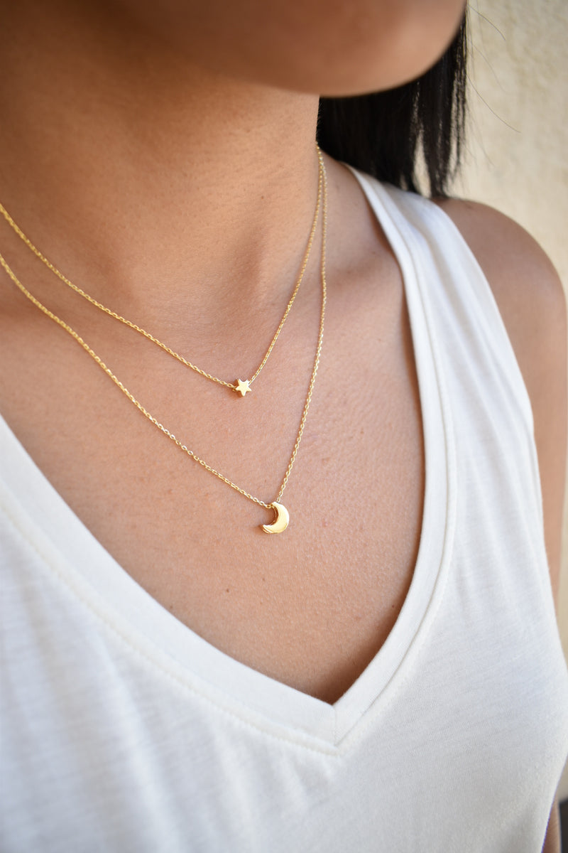 Dainty Star and Moon Necklace - Gold - Sweetly Striped