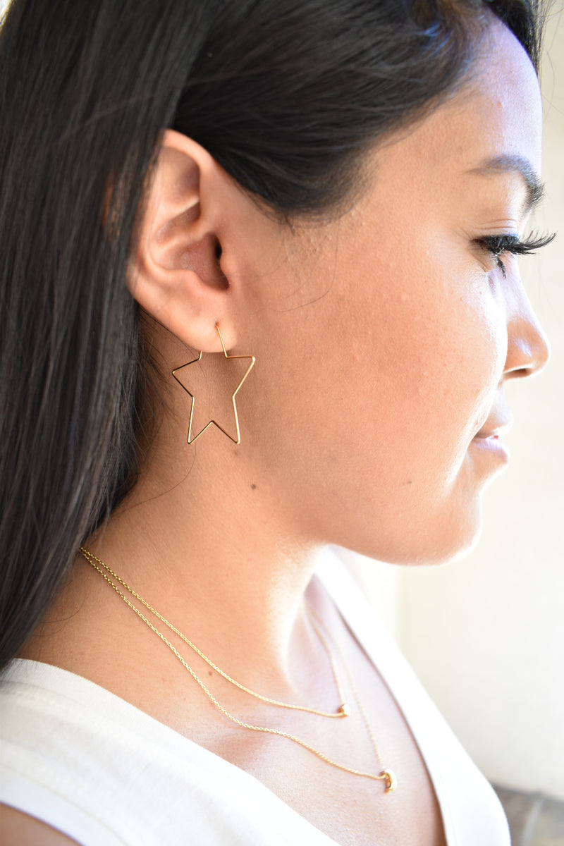 Thin Star Hoops