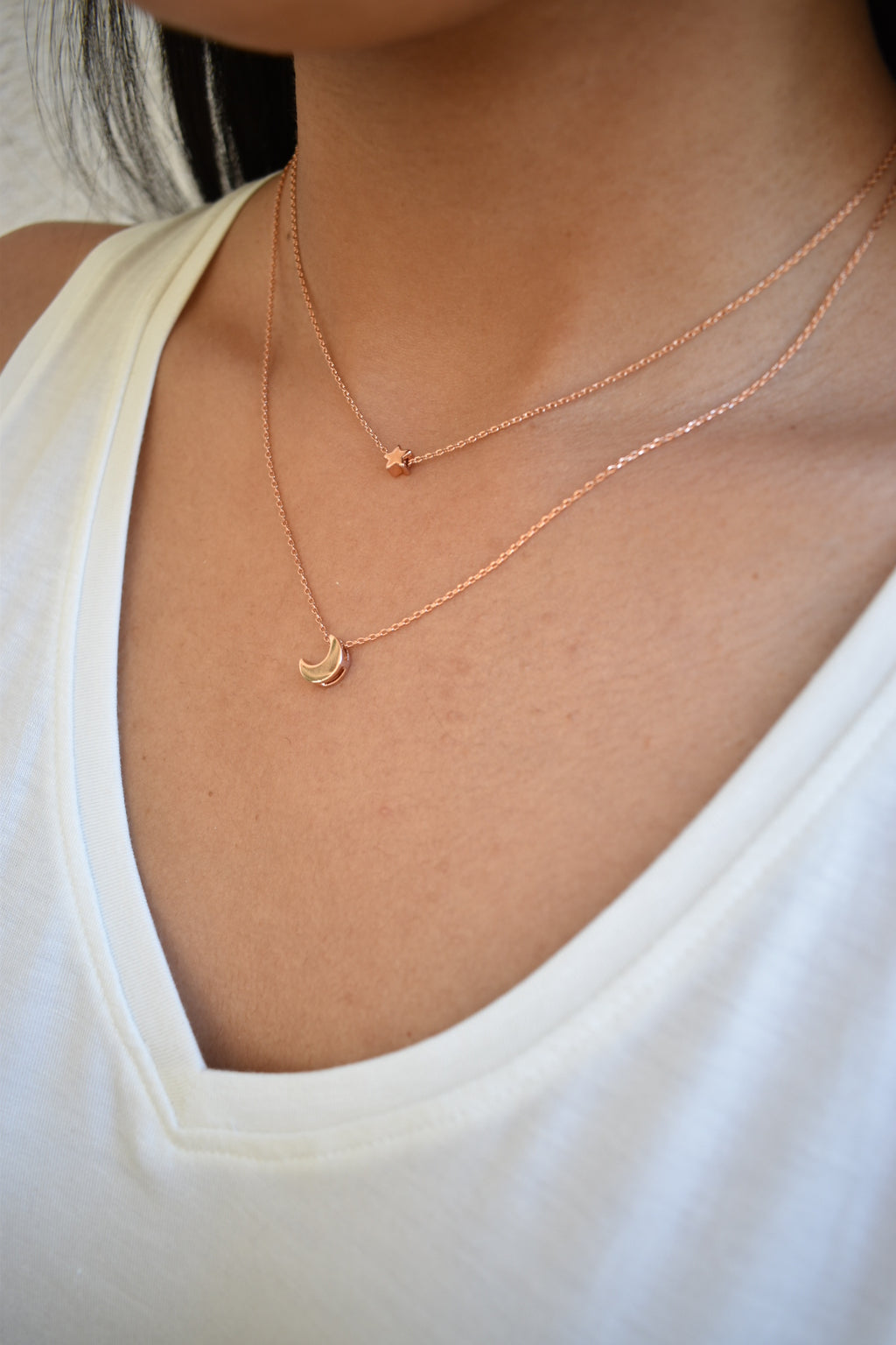 Dainty Star and Moon Necklace - Rose Gold - Sweetly Striped