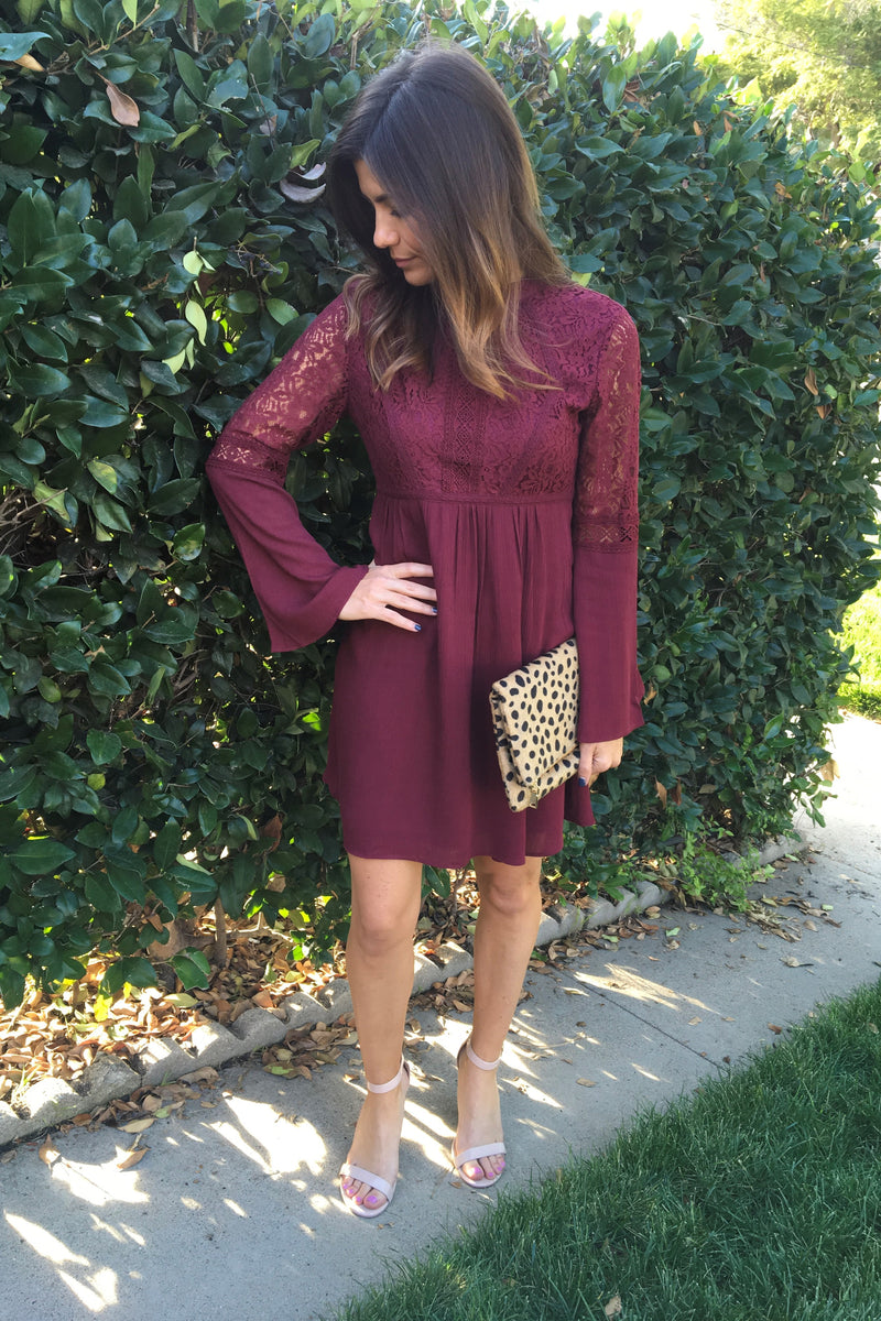 Boho Burgundy Dress - Sweetly Striped