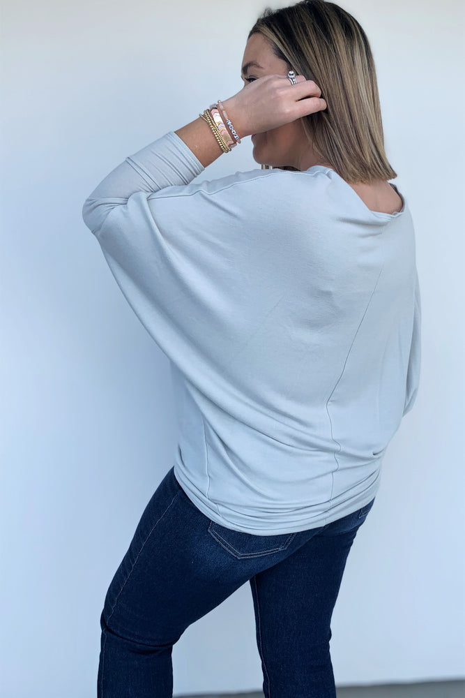 Light Sage Green Dolman Sleeve Top - Sweetly Striped