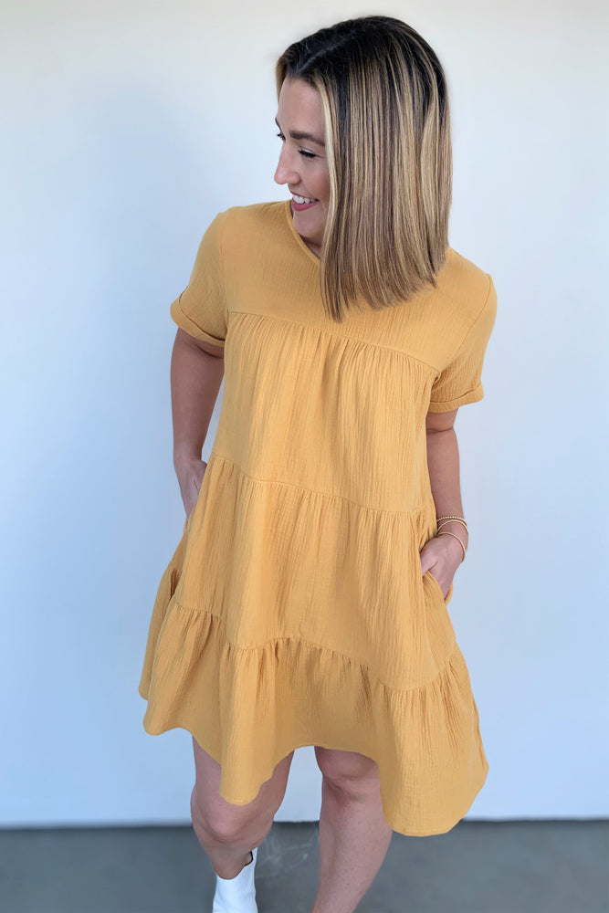 Sunny Days Tiered Shirt Dress - Sweetly Striped