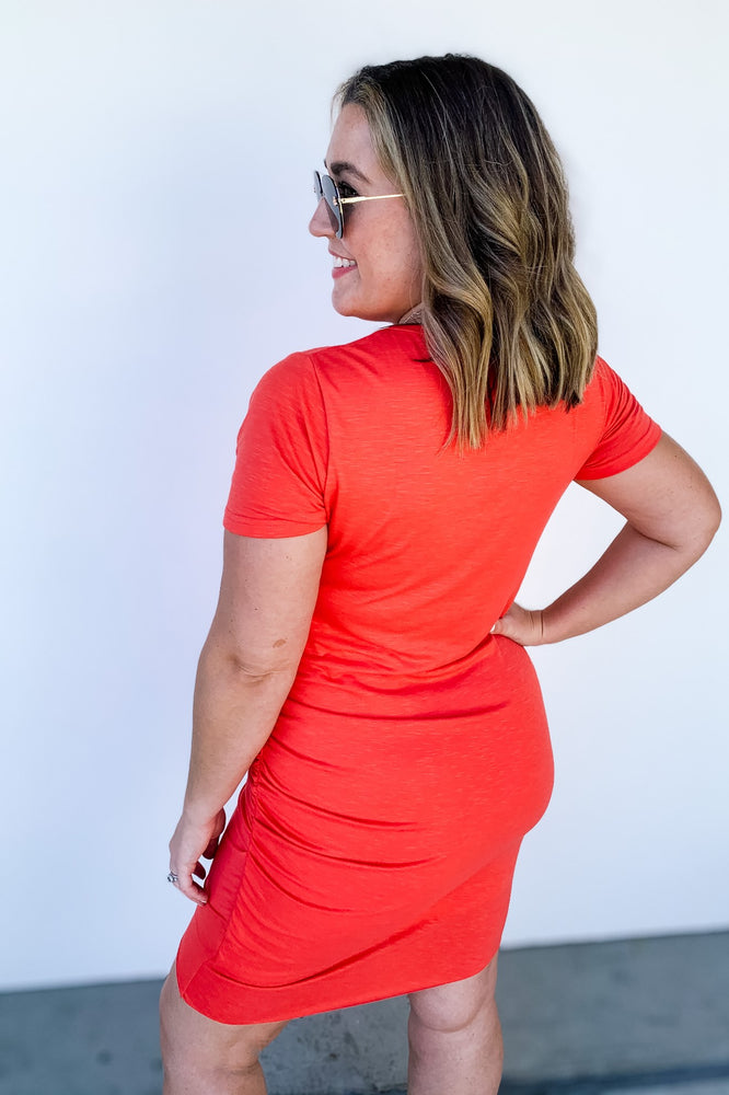 Ruched Coral T-Shirt Dress