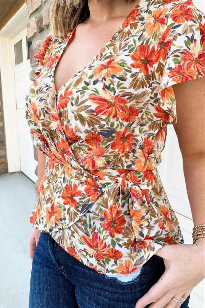 Floral Wrap Front Blouse - Sweetly Striped
