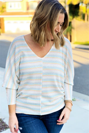 Rainbow Dolman Top - Sweetly Striped