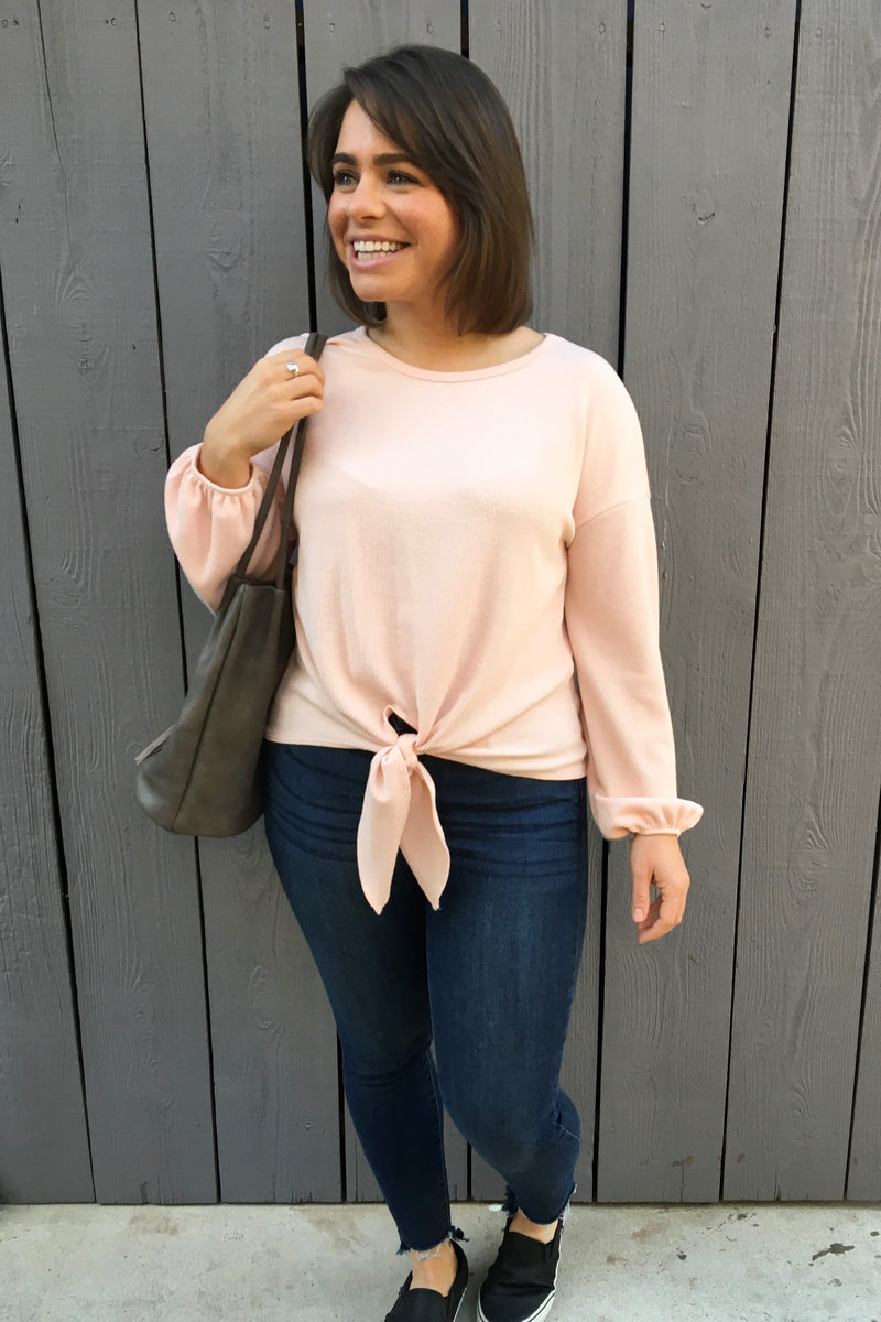 Peach Knot Front Top - Sweetly Striped