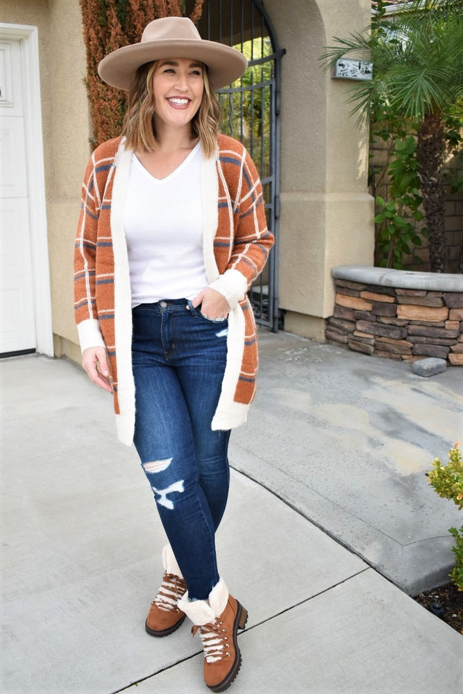 Plaid Rust Cardigan
