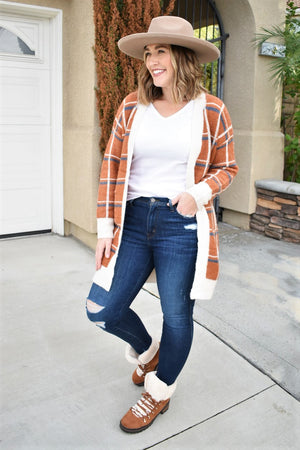 Plaid Rust Cardigan - Sweetly Striped