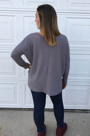 Grey Waffle Knit Top - Sweetly Striped