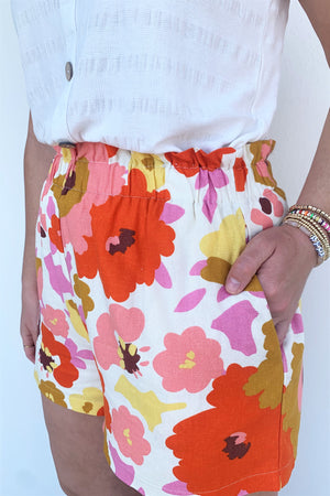 Floral Paperbag Shorts - Sweetly Striped