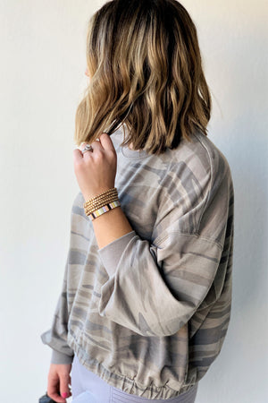 Relaxed Muted Camo Pullover - Sweetly Striped