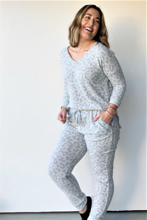 Brushed Leopard Joggers - Sweetly Striped